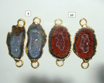 Geode Connectors, Geode Halves, Natural Mexican Tobasco Agate Half Geode Pair, 24mm, 24K Gold Electroplated, n11-5