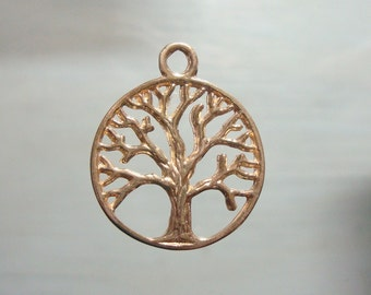 24K gold vermeil over Sterling Silver TREE of life pendant, 22x18mm - PC-0111