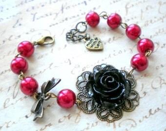 Gothic Wedding Jewelry Black Rose Bracelet Flower Bracelet Red Bracelet Victorian Wedding Jewelry Red Gothic Bracelet Red Pearl Bracelet