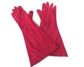 Lederer de France Gloves, Evening Gloves, Cotton Suede, Red Pink, Raspberry, French Gloves, Vintage Gloves, Size Small