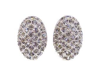 Swarovski Crystal Earrings, Gray Rhinestone, Silver Tone, Oval Shape, Swan Symbol, Designer, Vintage Jewelry