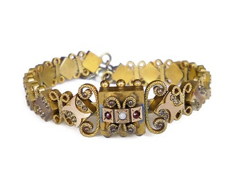 Victorian Bracelet, Garnet Seed Pearl, Gold Filled, Etruscan Revival, Coil Bangle, Tassel Fringe, Antique Jewelry