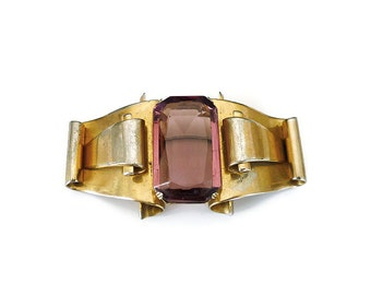 Coro Brooch, Amethyst Glass, Gold Tone, Retro Moderne, 1940s Jewelry, Large Chunky, Statement Jewelry, Vintage Brooch