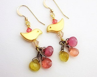 Tourmaline Earrings -- Beaded Bird Earrings -- Pink Yellow Gold Earrings -- Gold Bird Earrings -- Bird Gem Earrings -- Watermelon Tourmaline