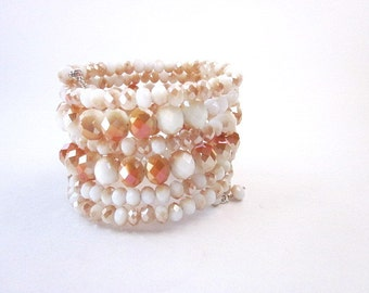 Stacked Beaded Bracelets -- Neutral Bracelet -- White Memory Wire Bracelet -- White & Gold Wrap Bracelet -- Casual White Bracelet -- Crystal