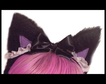 Meow Kitty Ears Maid Headband Black Faur Fur with Bow Headbands Kitty Cat Costume Halloween Cosplay Cats Anime Head Band