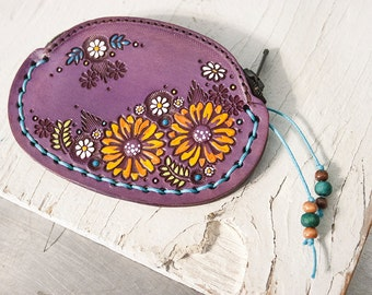 Custom Leather Coin Purse - Sunflowers and Daisies - Pick your thread color - personalized leather change pouch, wallet - Wildflowers