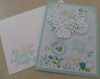 Stampin' Up! Birthday Ice Cream Cone Handmade Card from My Paper Pumpkin Kit with Doily, Ribbon and Sequins