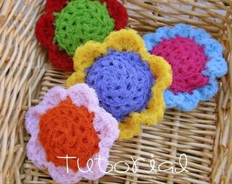 Tutorial- PDF- Flower Puff Scrubbie- Nylon Net Scrubber- pot scrubber, crochet pattern