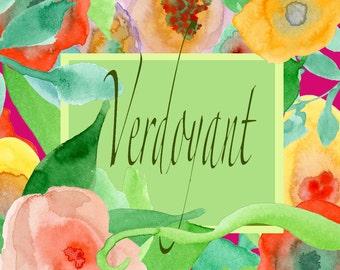 Verdoyant:  Floral Clip Art, Watercolor Flower Clip Art, Handpainted Graphics, Floral Elements, Instant Download, Digital