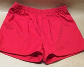 Red Shorts Size Large Vintage Unisex JC Penney Towncraft Vintage Cotton Swim Trunks 1980s Gym Shorts Tennis Shorts