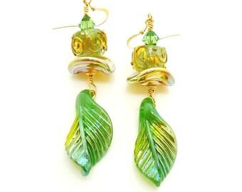 Jade Green Leaf Earrings, Lampwork Earrings, Glass Earrings, Glass Bead Earrings, Gold Dangle Earrings, Drop Earrings, Unique Earrings