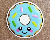 Blue Donut Vinyl Sticker - 10cm fun food paper stationery stickers cute kawaii doughnut