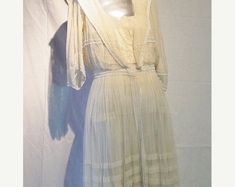 30% OFF SALE Antique 1900s Edwardian Ivory Dress owned by Anita Carroll of Carrollton Downtown Abbey Era
