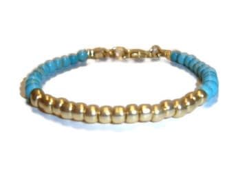 Turquoise and Gold Stacking Bracelet - Turquoise Beads - Gold Beads - BOHO Design - Wear with Other Bracelets - HANDMADE - Bohemian Bracelet