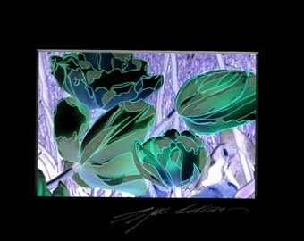 "Mixed media photo art, green tulips matted in black 5"" x 7"" mat"