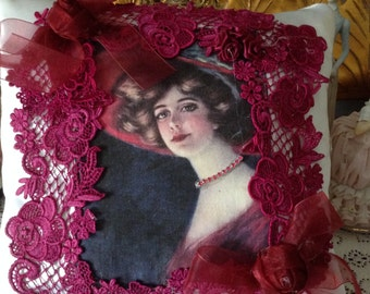 Victorian lady in a big red hat throw pillow 10x10