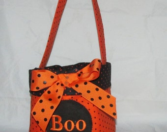 BOO~ Trick or Treat~Candy Bucket~Embroidered Halloween Basket~Candy Basket~Candy Bucket~Halloween Tote~Halloween Bag~Personalized Basket