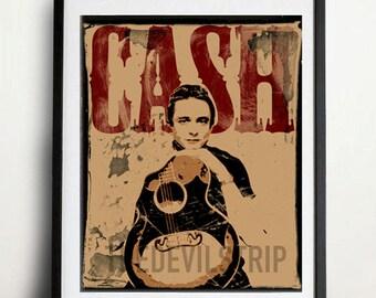 Johnny Cash man in black red wood rockabilly western rock n roll gig poster style pop art  portrait illustration