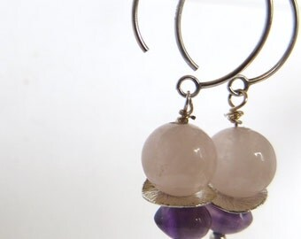 Rosequartz and Amythest Earrings, Silver Pink and Purple Earrings, Gemstone Mixture Earrings, Amythest Rosequartz Gemstone Earrings
