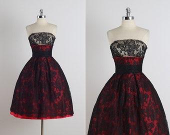 Splendid Illusion . vintage 1950s dress . vintage party dress . 5624