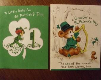 Vintage 1950's  St. Patrick's Day Cards  Deadstock  2 Cards w/Envelopes