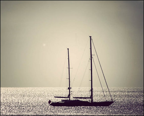 Sailboat photo print, sailing decor, nautical art, Bahamas art print, Black and white art