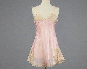 1930s Lingerie Teddy, 30s Step-In, Embroidered Pink Satin and Lace Nightie, Old Hollywood Boudoir