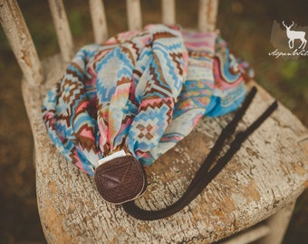 Blue and Pink Aztec Camera Strap