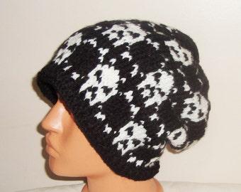 Knitted skull hat men's skull hat, ready to ship hat, slouchy hat, skull slouchy hat, skull beanie, knit skull hat, valentines gift for men