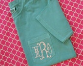 Monogrammed Comfort Colors  Short Sleeve Pocket  Shirt with Fishtail Font