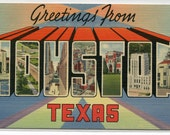 Greetings From Houston Texas Large Letter linen postcard