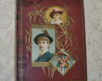 RESERVED for KAREN - Victorian Scrap Book Album - 44 pages of Trade Cards & Lithos of Pretty Ladies, Children, and Flowers