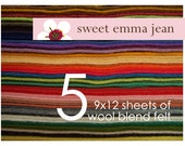 9x12 Wool Felt Sheets - Choose any FIVE wool felt sheets