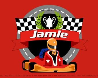Go Kart Backdrop Design JPG file- PERSONALIZED Go Kart Birthday party
