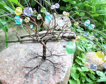 Crystal Tree of Life Sculpture, Oxidized Copper