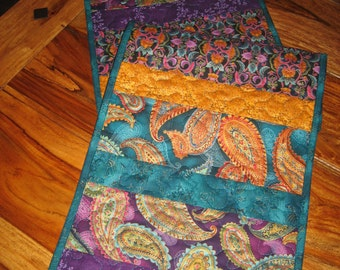 Quilted Table Runner, Paisley Jewel Tone Prints in Purple, Turquoise, Orange, Gold, Reversible Runner, Elegant Runner, Handmade Tahoequilts