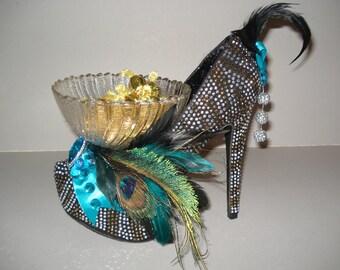 Shoe Candy Dish silver & gold studded Platform