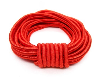 Wrapped Silk Satin Cord, Red Satin Cord, Soutache Wrapped Thread Cord 4mm, Rope Cord- 1 Yard/  0,92m approx.(1 piece)