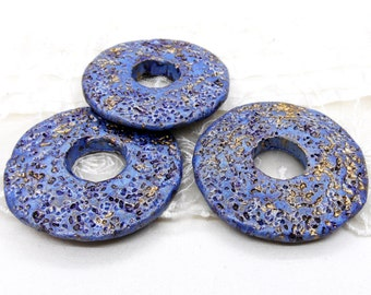 Blue Grey Gold Ceramic Washer, Greek Ceramic Pendant, Handmade Greek Ceramic, Extra Large Ceramic Disc, 51mm (Ø 18.2mm) - 1 piece