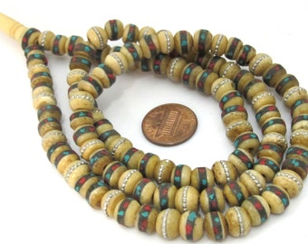 108 mala beads supplies -Tibetan Rondelle shape ethnic bone beads with turquoise coral inlay 8 mm - ML062