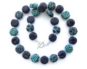 Kazuri Bead Necklace, Fair Trade Beads, Ceramic Necklace, Navy Blue and Spearmint Green