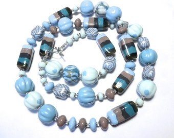 Kazuri Bead Necklace, Fair Trade, Teal Green Blue and Grey