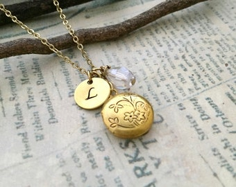 Dainty Locket Necklace, Initial Necklace, Best friend Gift, Best friend Necklace, Gift Ideas, Handmade Necklace, Bridesmaid Gift