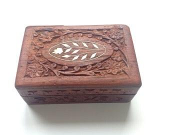 Vintage Carved Wood Box with Flower Leaf Design