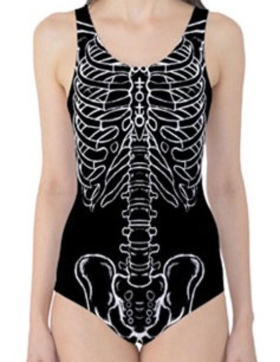 Skeleton Gothic One Piece Swim Suit
