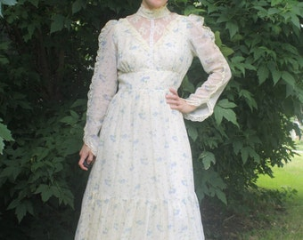 Ivory Floral Prairie Dress Lace Long Western Country Vintage 70s XS S