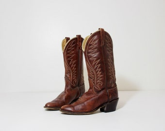 Southwestern Vintage Brown Leather Cowgirl Boots Size 6.5 Womens, Euro 37