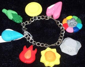 POKEMON 8 Piece Gym Badge Set or Charm Bracelet,Hand Sculpted Polymer Clay,Kanto Region Gym Badges,Indigo League,Cosplay Gen 1 Cascade
