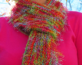 Hand Knit Scarf - Orange, Yellow, Green, Red